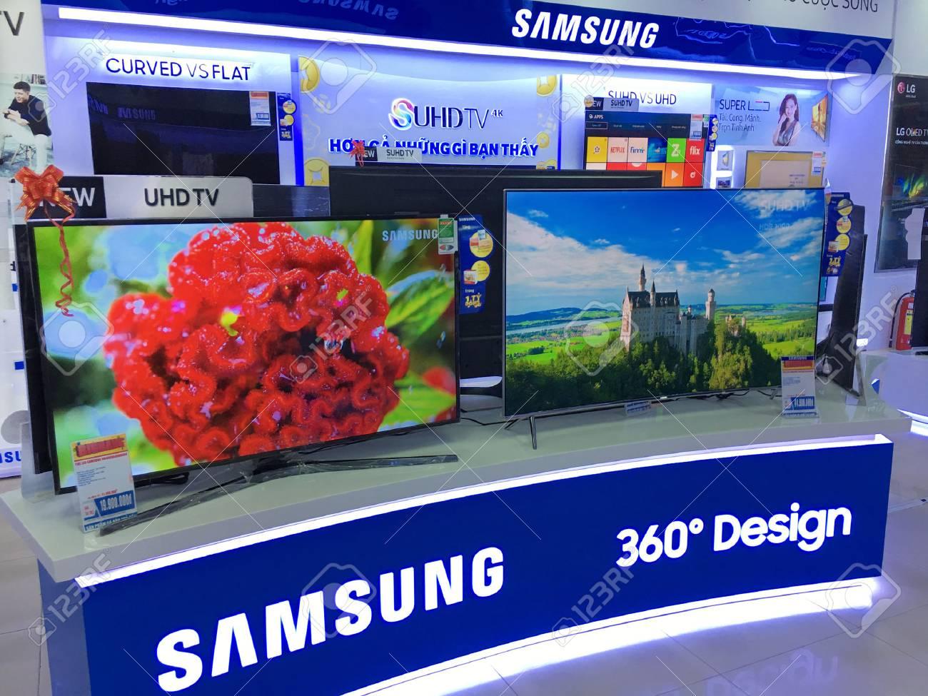 VUNG TAU, VIETNAM - DECEMBER 25, 2016: Samsung televisions at