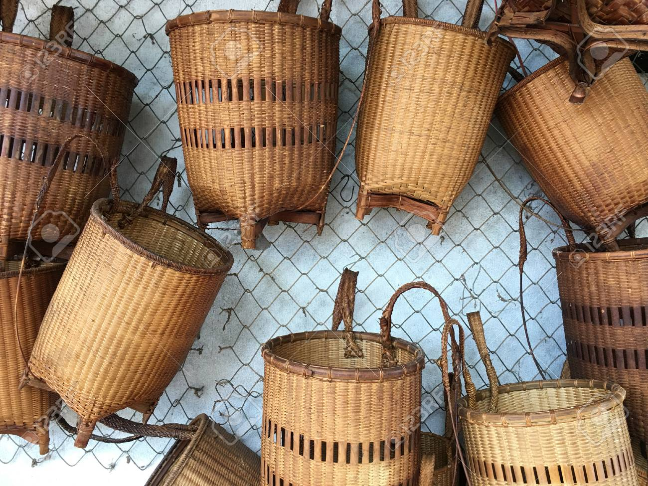 Many Woven Bamboo Baskets Hang On Wall Vietnam Stock Photo Picture And Royalty Free Image Image 82328928