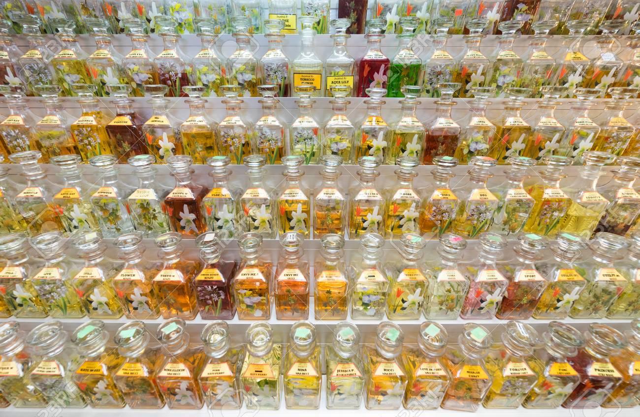 KUALA LUMPUR - SEPT 12, 2017: Lots of fragrance oil bottles for