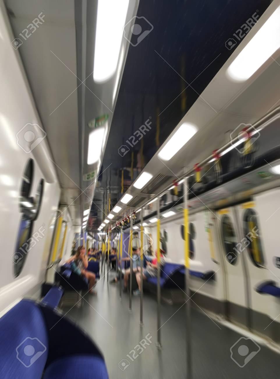 metro carriage of Hong Kong MTR inside, motion blur