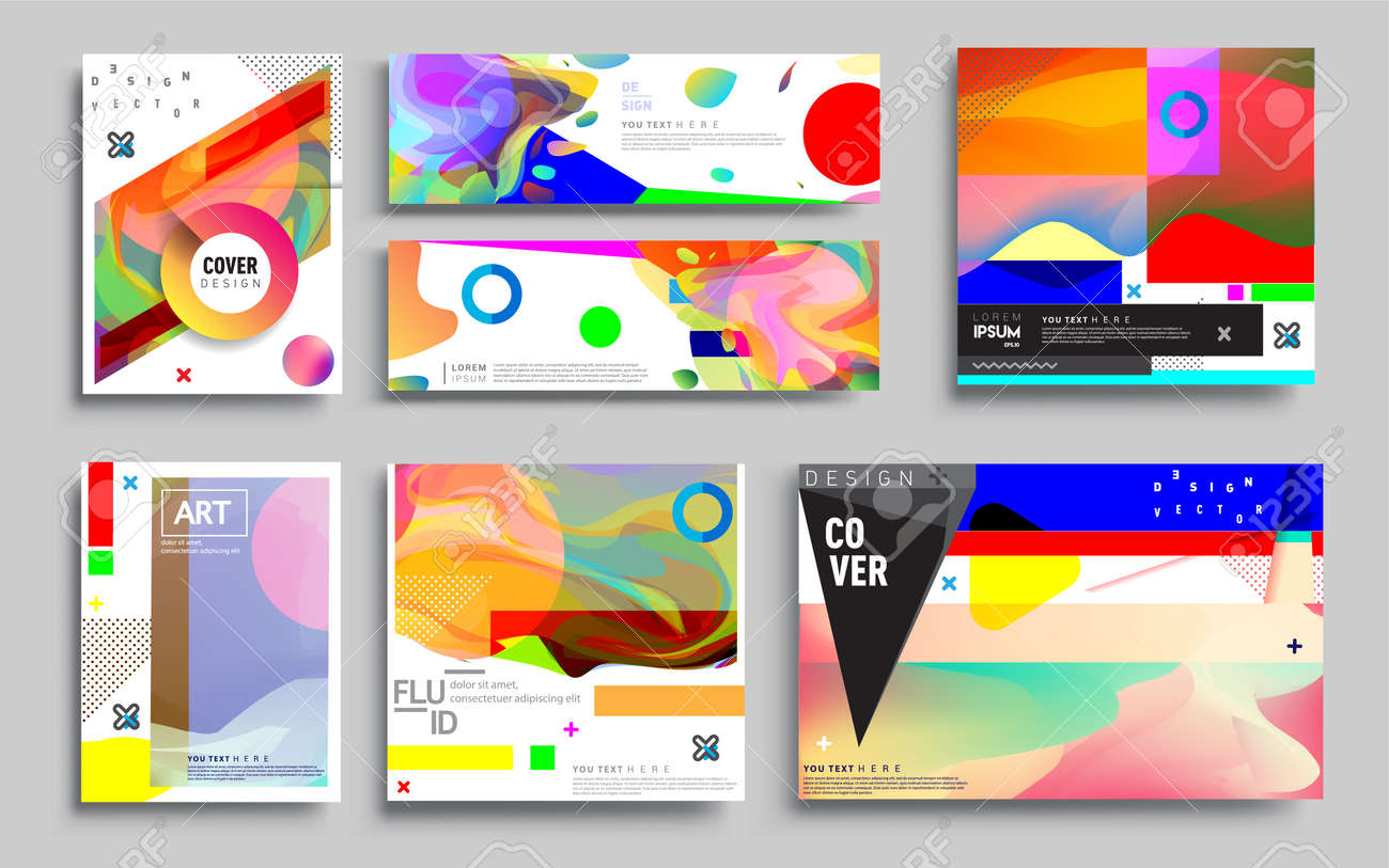 Modern abstract covers sets. Cool gradient shapes composition, vector covers design. - 157458631