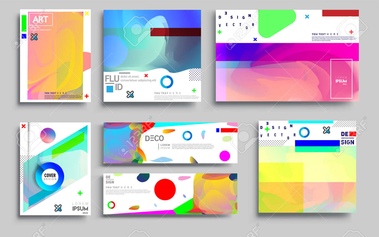 Modern abstract covers sets. Cool gradient shapes composition, vector covers design. - 157459066
