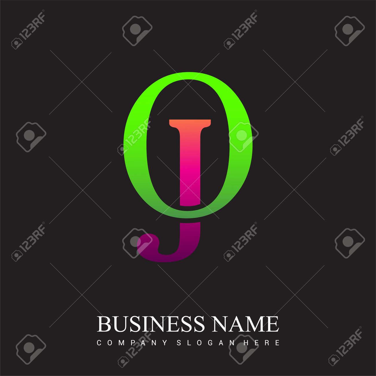 initial letter logo OJ colored pink and green, Vector logo design template elements for your business or company identity. - 157803175