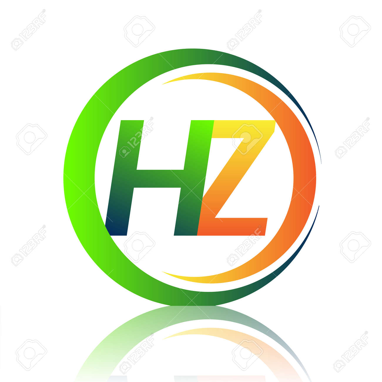 initial letter logo HZ company name green and orange color on circle and swoosh design. vector logotype for business and company identity. - 160136717