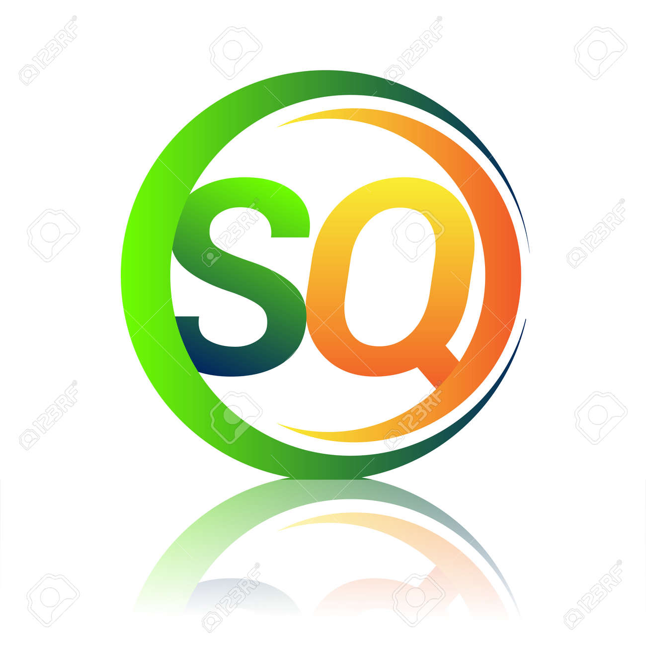 initial letter logo SQ company name green and orange color on circle and swoosh design. vector logotype for business and company identity. - 158238854