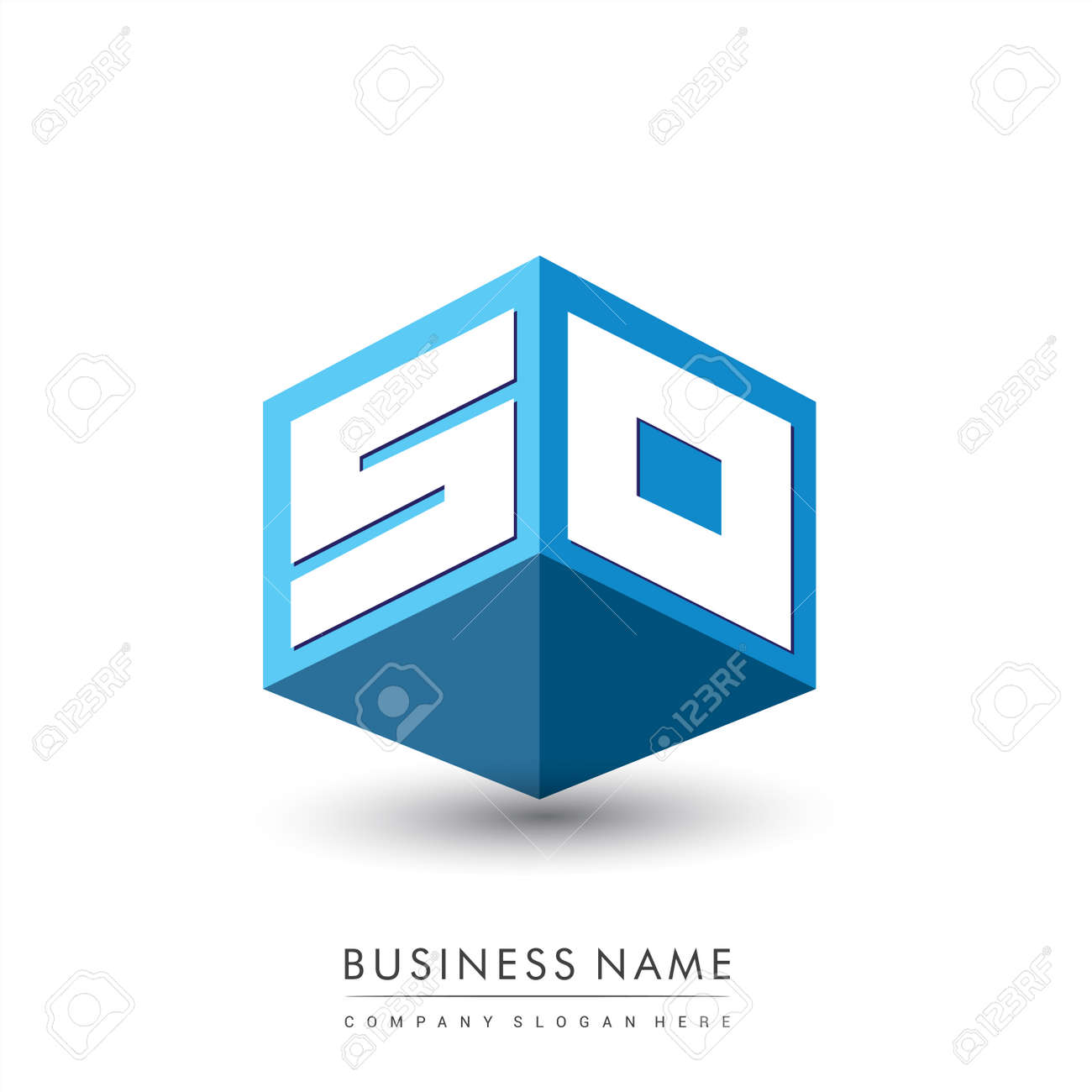 Letter SO logo in hexagon shape and blue background, cube logo with letter design for company identity. - 159439417