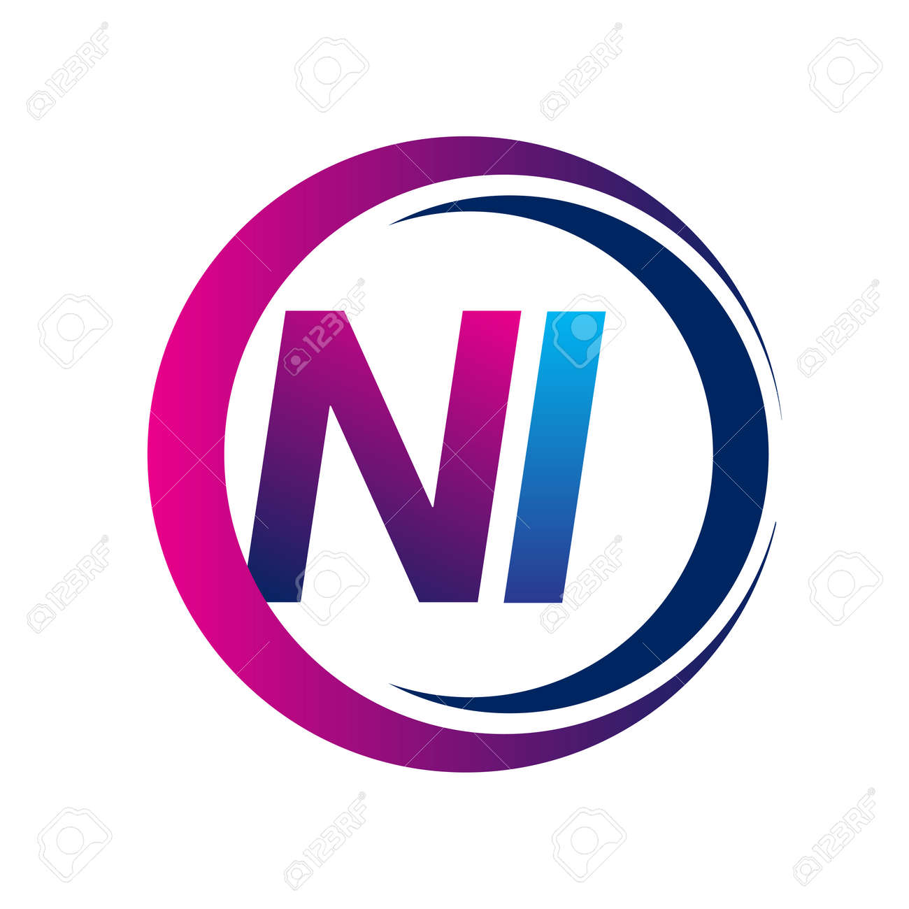 initial letter logo NI company name blue and magenta color on circle and swoosh design. vector logotype for business and company identity. - 159768085