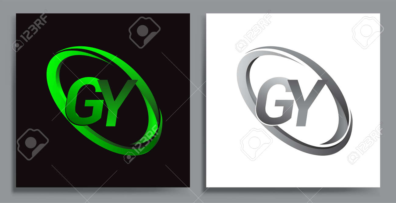 letter GY logotype design for company name colored Green swoosh and grey. vector set logo design for business and company identity. - 158189227