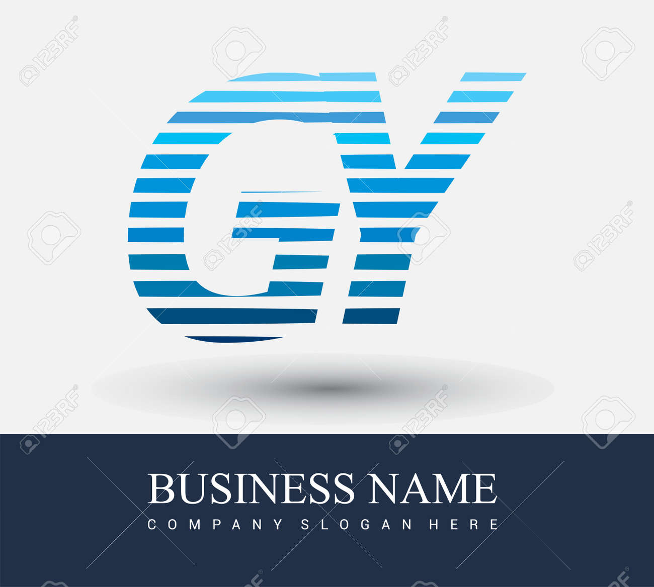 initial letter logo GY colored blue with striped compotition, Vector logo design template elements for your business or company identity. - 160137772