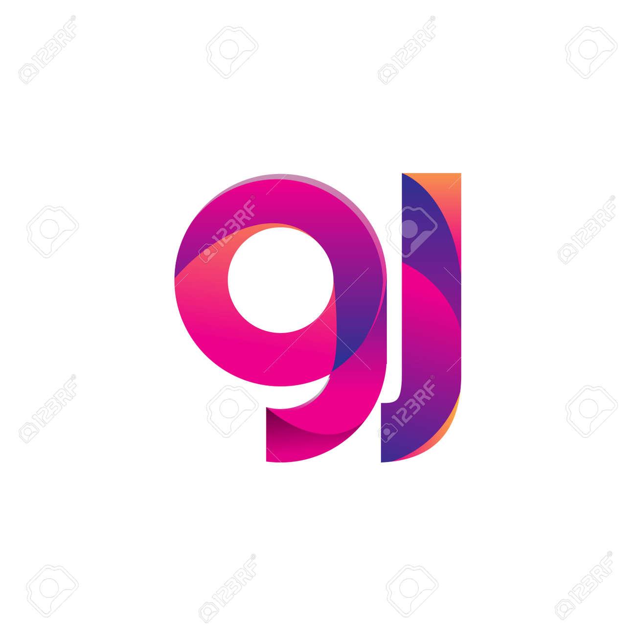 Initial Letter GJ Logo Lowercase, magenta and orange, Modern and Simple Logo Design. - 158294827