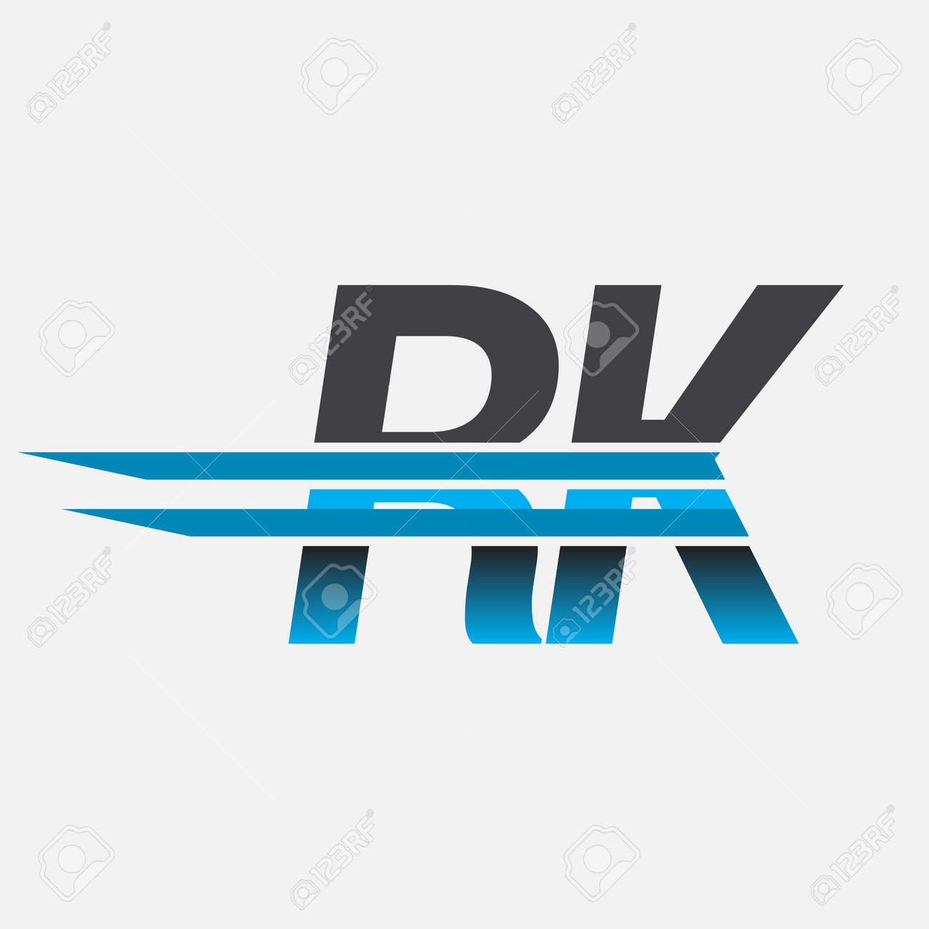 initial logo RK company name colored black and blue, Simple and Modern Logo Design. - 158547524