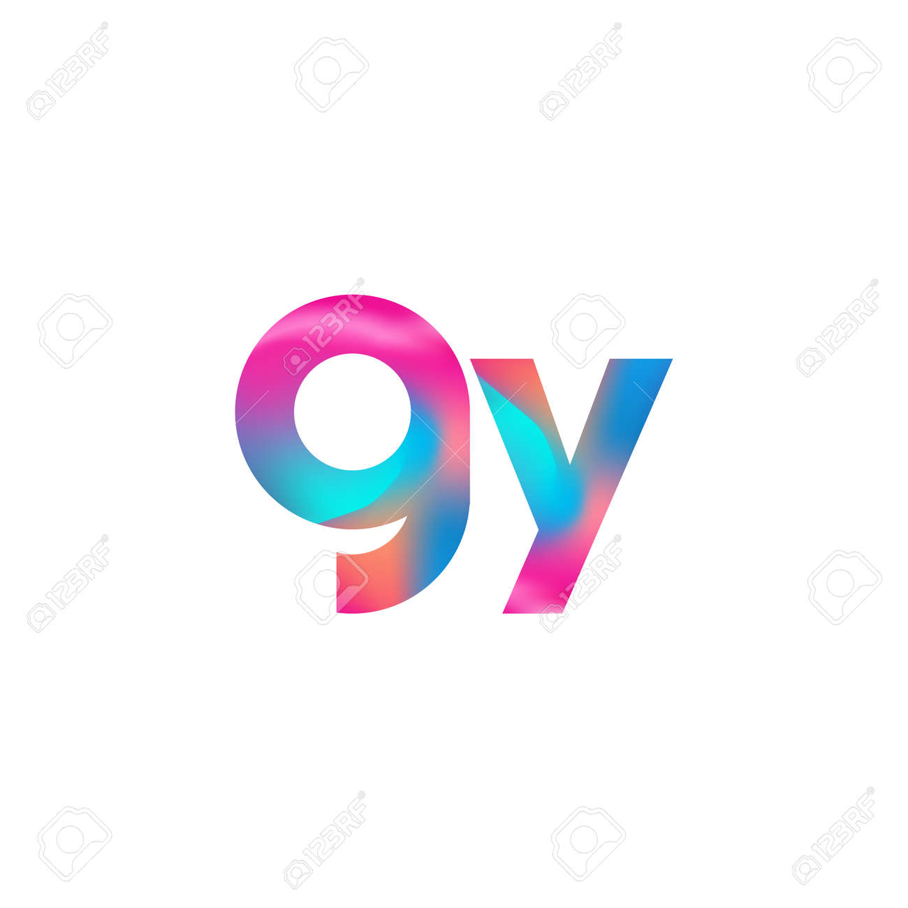 Initial Letter GY Logo Lowercase colorful design, Modern and Simple Logo Design. - 158526742