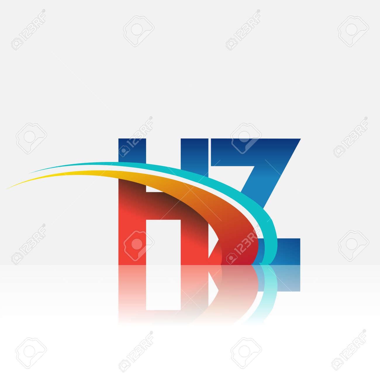 initial letter HZ logotype company name colored red and blue and swoosh design. vector logo for business and company identity. - 158511431