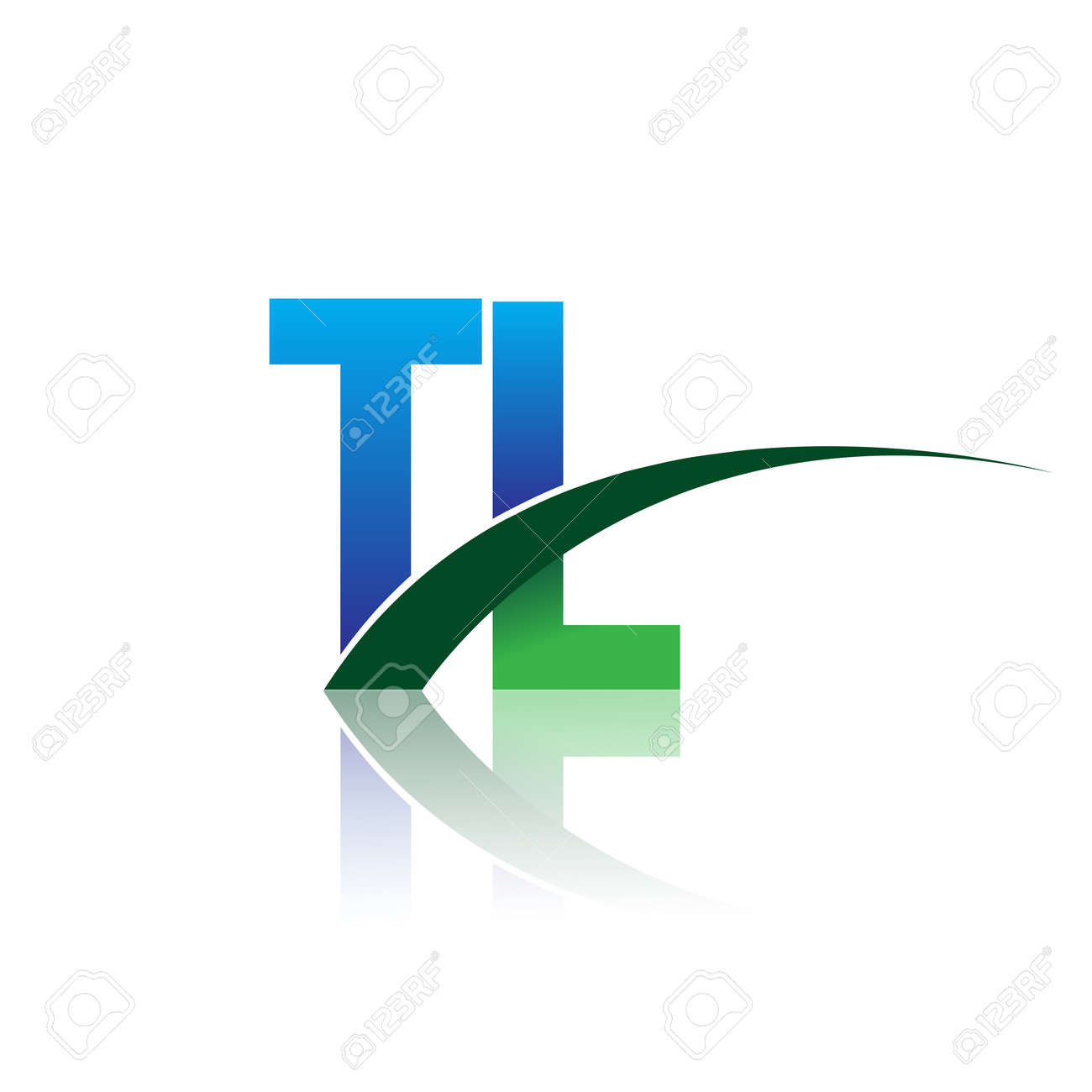 initial letter TL logotype company name colored blue and green swoosh design. vector logo for business and company identity. - 159470294