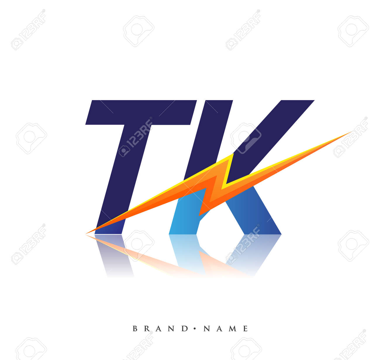 Letter TK logo with Lightning icon, letter combination Power Energy Logo design for Creative Power ideas, web, business and company. - 163272389