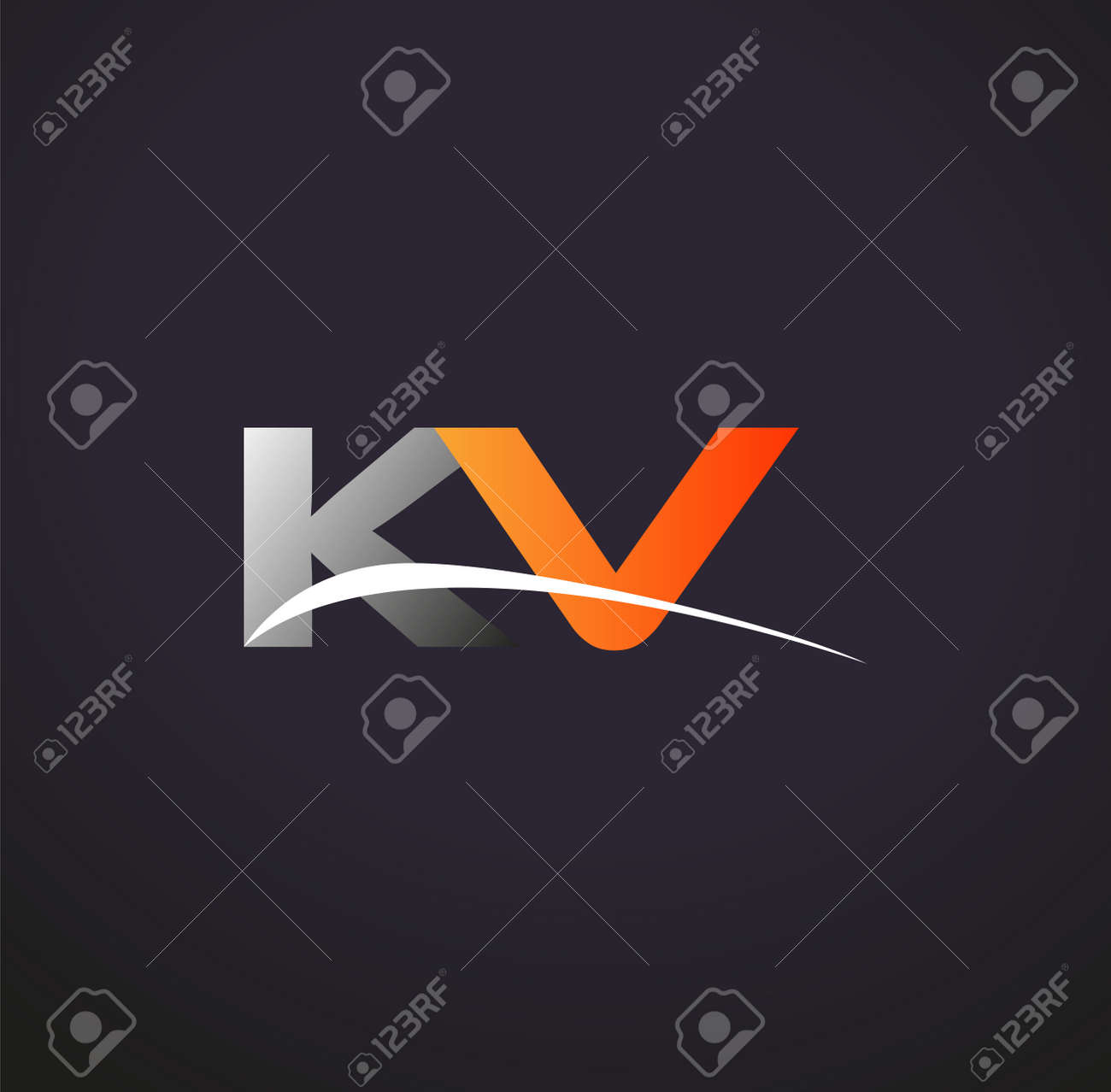 initial letter KV logotype company name colored grey and orange swoosh design. isolated on black background. - 163280783