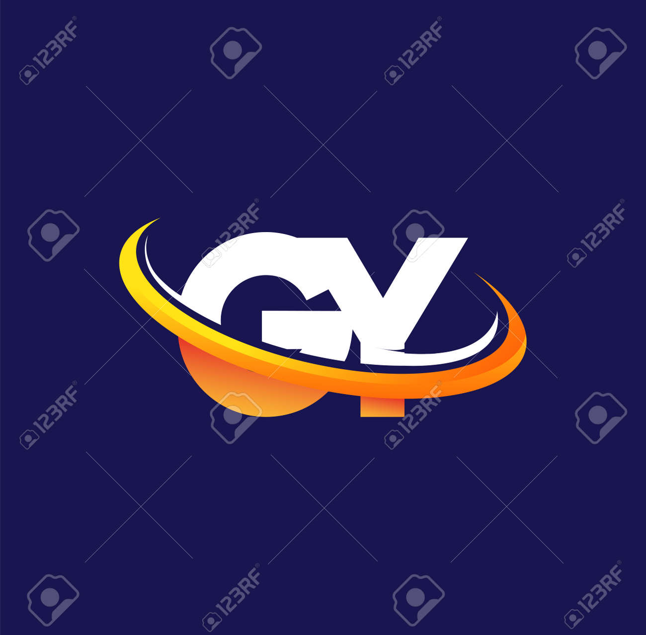 GY initial logo company name colored white and orange swoosh design, isolated on dark background. vector logo for business and company identity. - 163012933