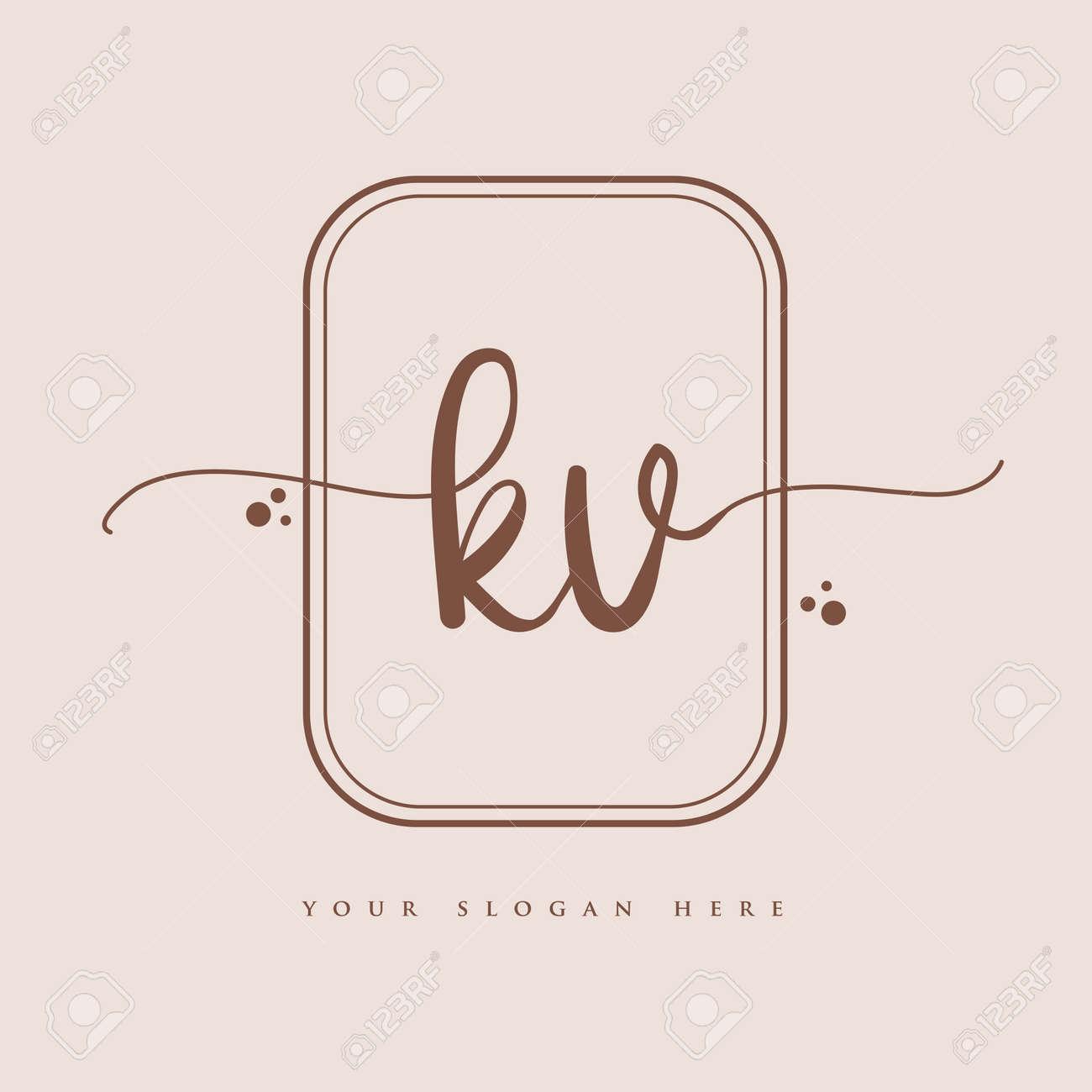 KV Initial handwriting logo. Hand lettering Initials logo branding, Feminine and luxury logo design isolated on elegant background. - 163287312
