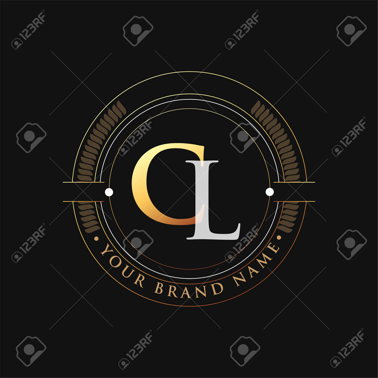 initial letter logo CL gold and white color, with stamp and circle object, Vector logo design template elements for your business or company identity. - 164065849