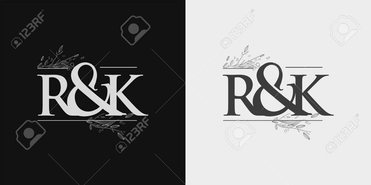 RK Initial logo, Ampersand initial Logo with Hand Draw Floral, Initial Wedding Font Logo Isolated on Black and White Background. - 164817952