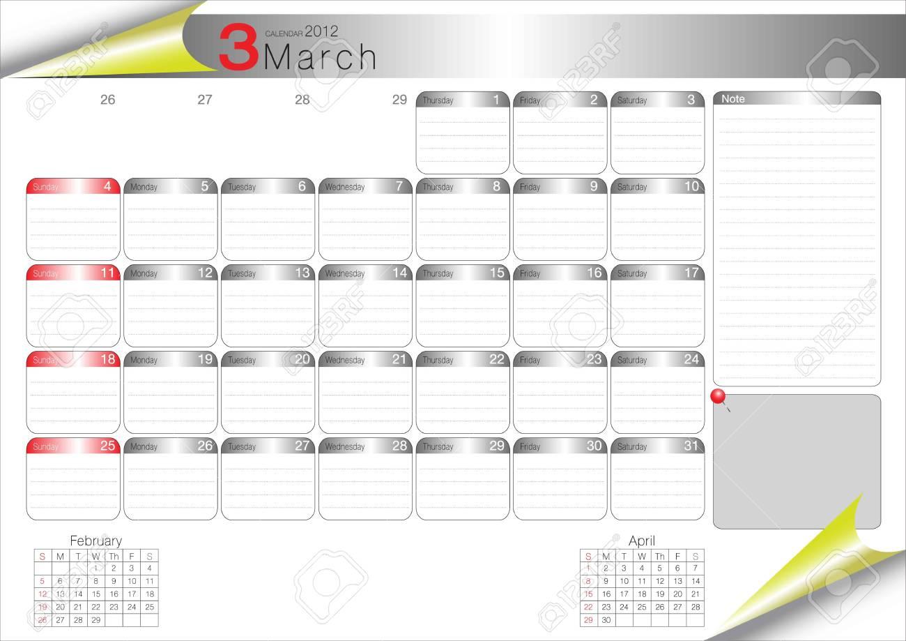 vector organizer table 2012 march Stock Vector - 11388986