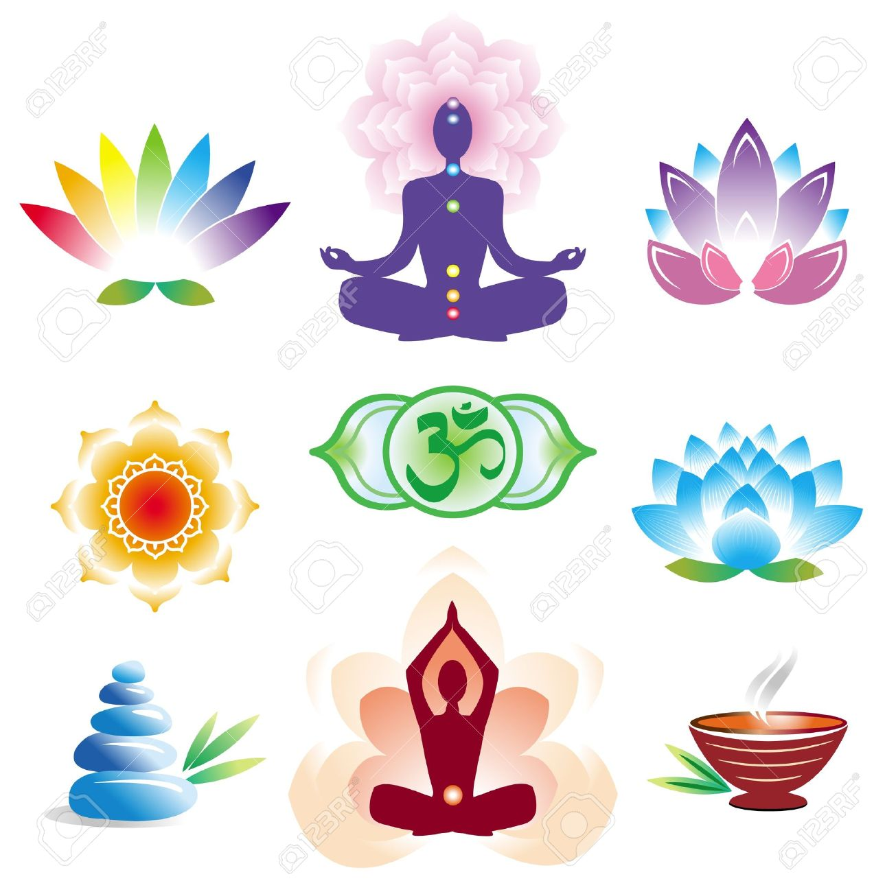 Hindu lotus flower stock photos pictures royalty free hindu hindu lotus flower oriental icons set illustration dhlflorist Gallery
