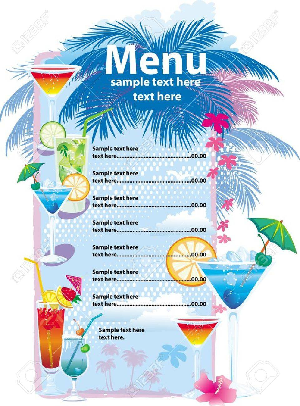 Delightful Template Designs Of Cocktail Menu Stock Vector   9668933