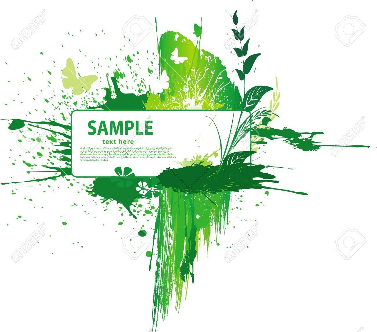 Green grunge background Stock Vector - 9669028
