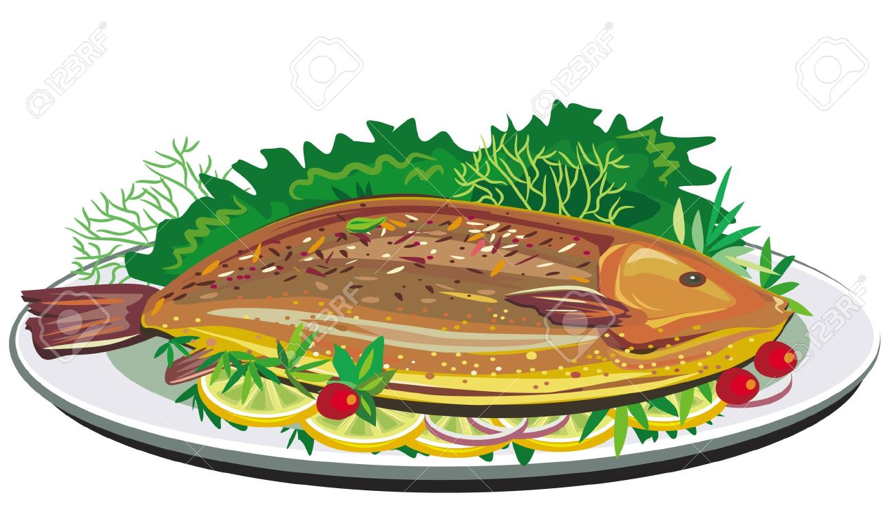 Roast fish on plate Stock Vector - 9716681