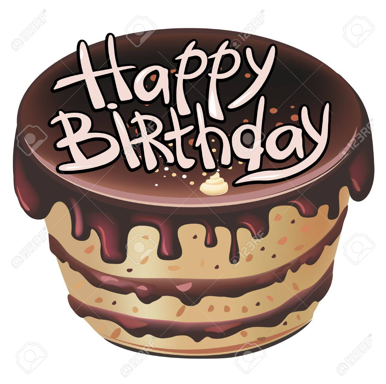Pleasing Chocolate Birthday Cake Royalty Free Cliparts Vectors And Stock Personalised Birthday Cards Bromeletsinfo
