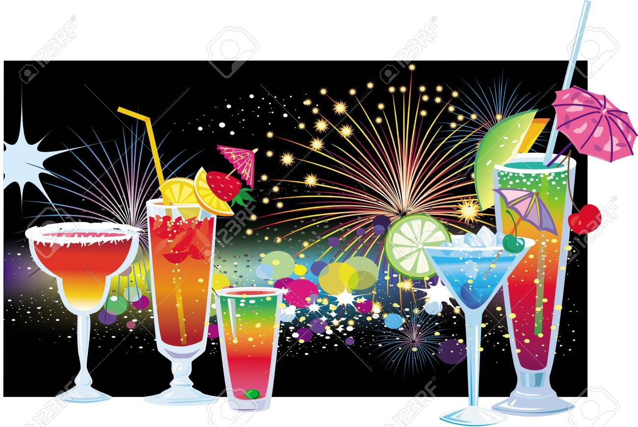 Cocktails on background of fireworks in the night sky Stock Vector - 9745218