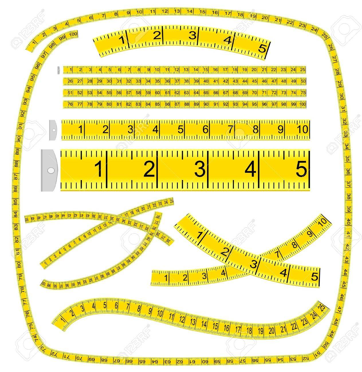 Vector of tape measure border a page border created from a rag tape - Tape Art Measuring Tape Art Brush Illustration