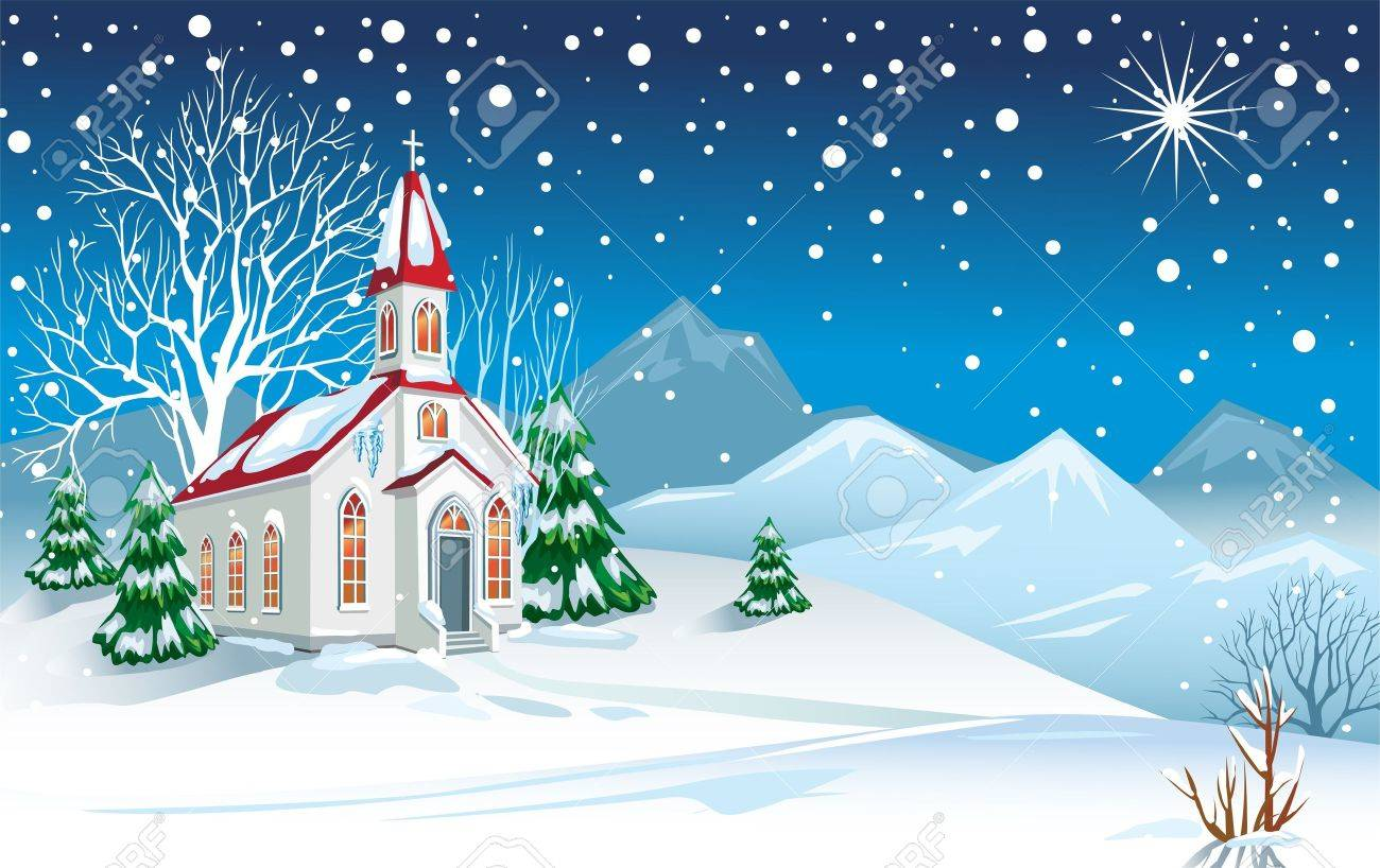 Winter landscape with church Stock Vector - 10993620