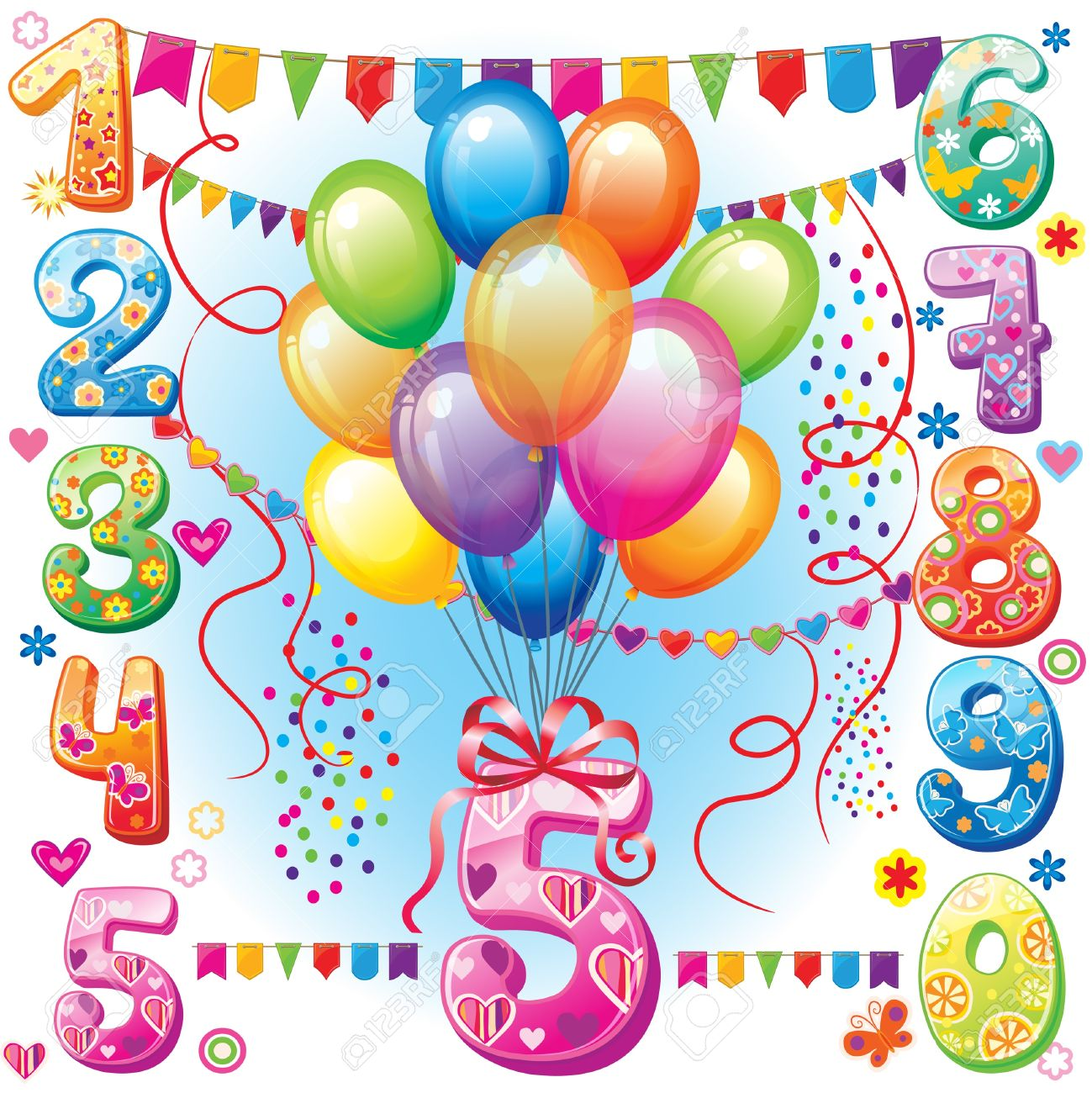 Happy Birthday Balloons And Numbers Stock Vector