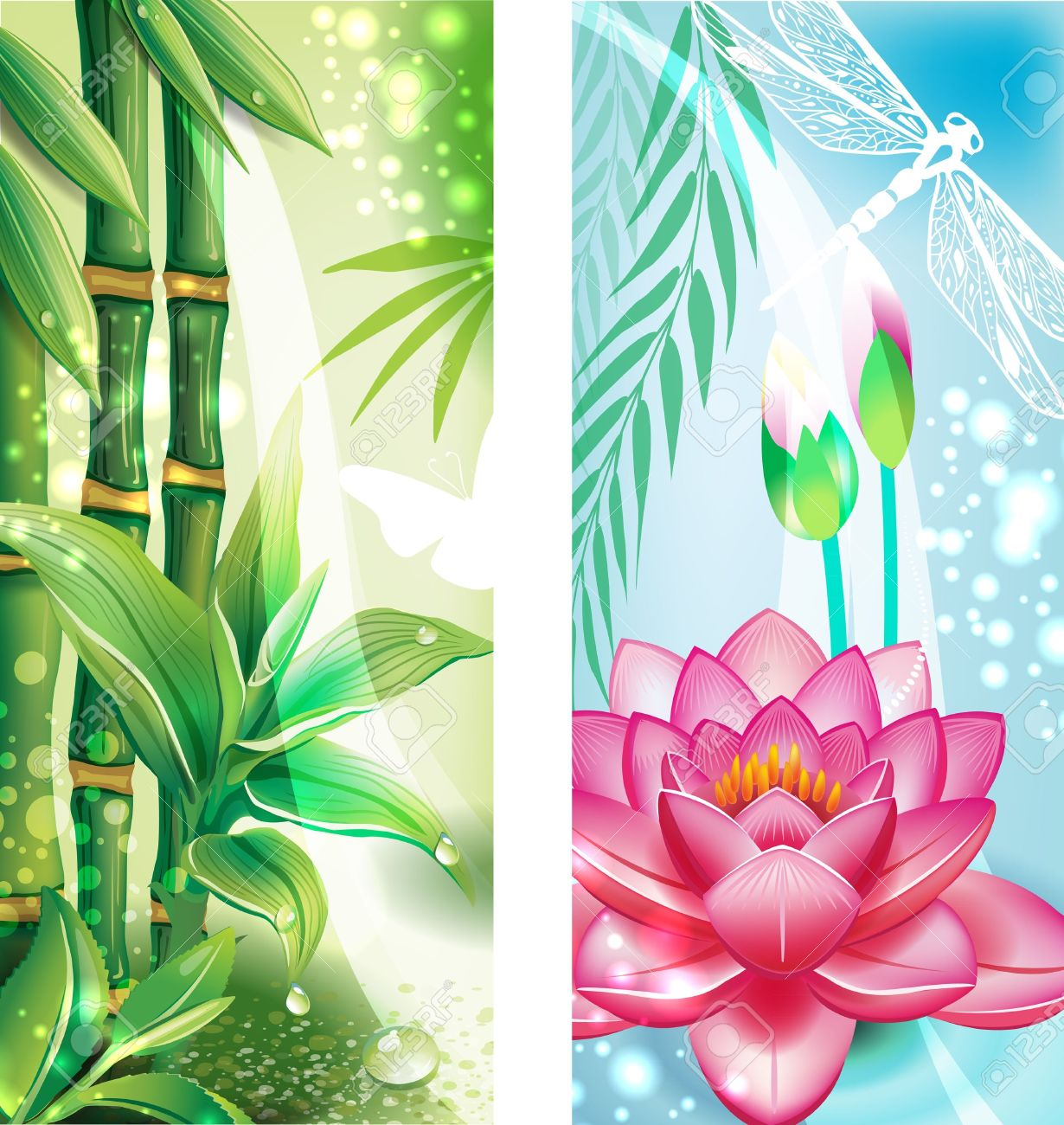 Vertical banners with bamboo and lotus Stock Vector - 15064033