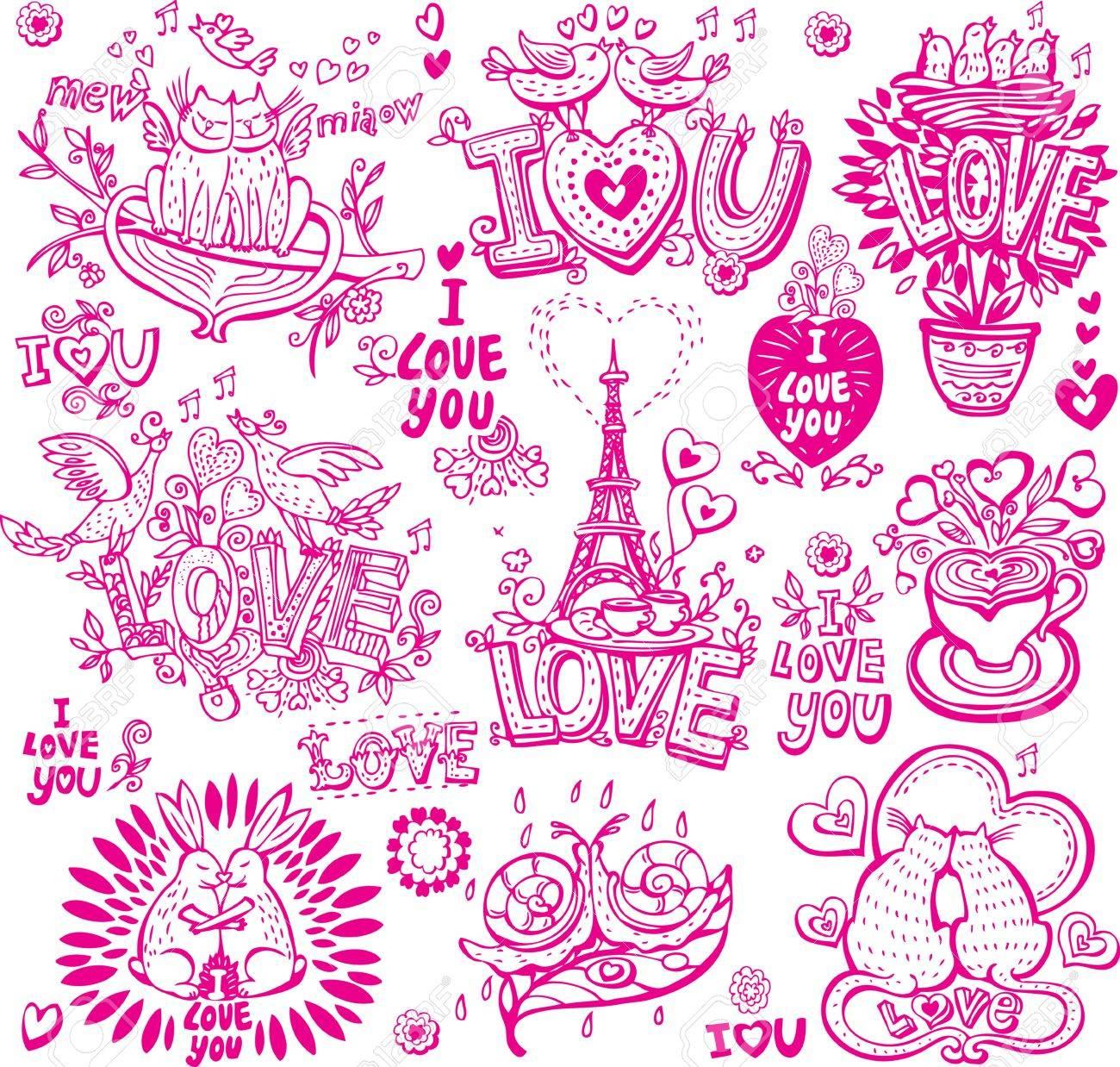 Set of hand drawn love sketchy - 17594567