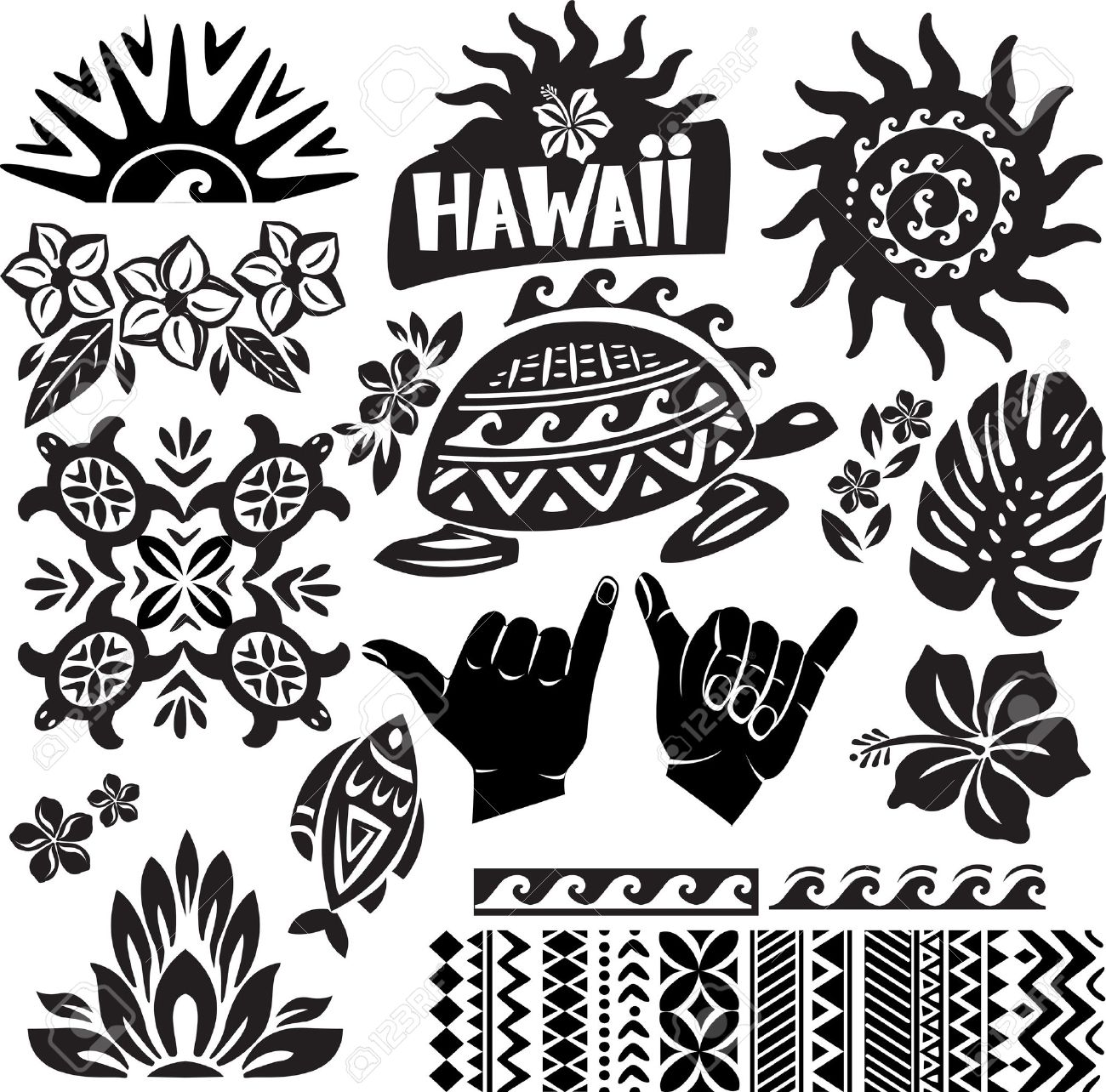 Hawaii Set in black and white - 17833787