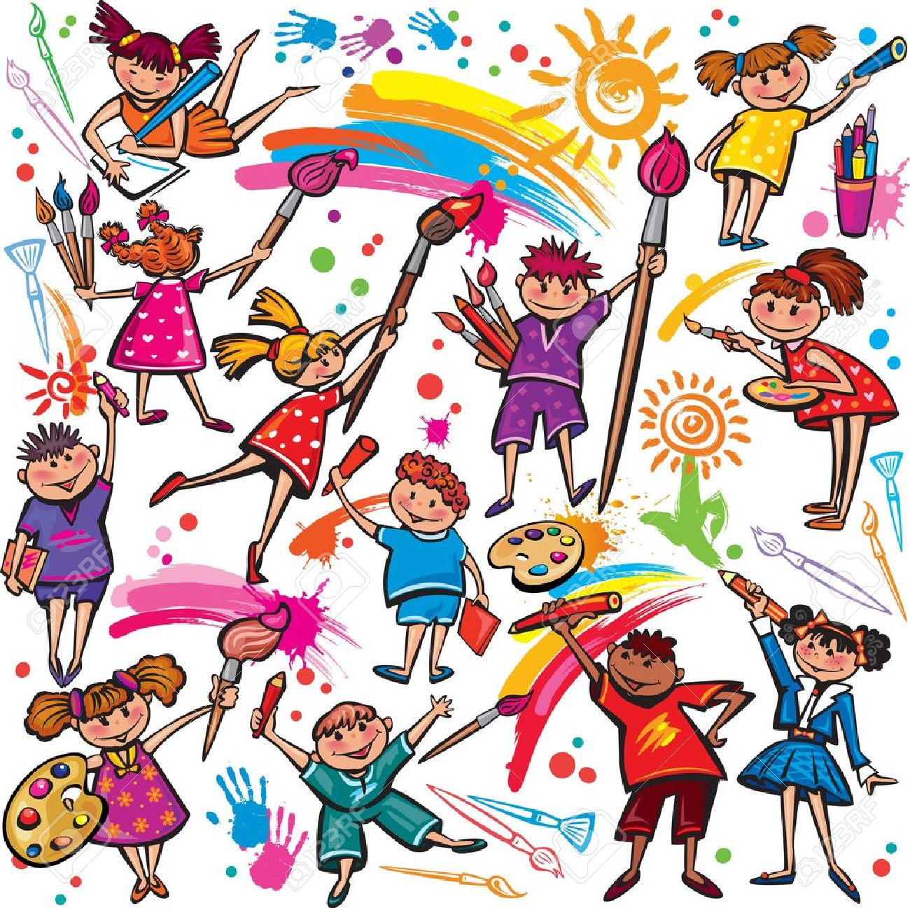 Happy children drawing with brush and colorful crayons - 18544009