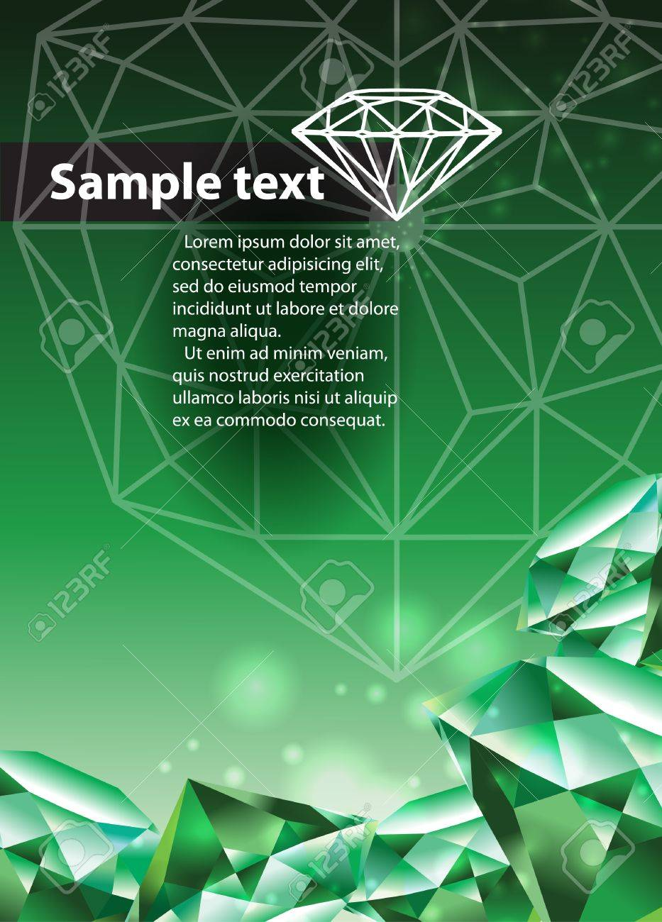 Template with green emerald Stock Vector - 18872590