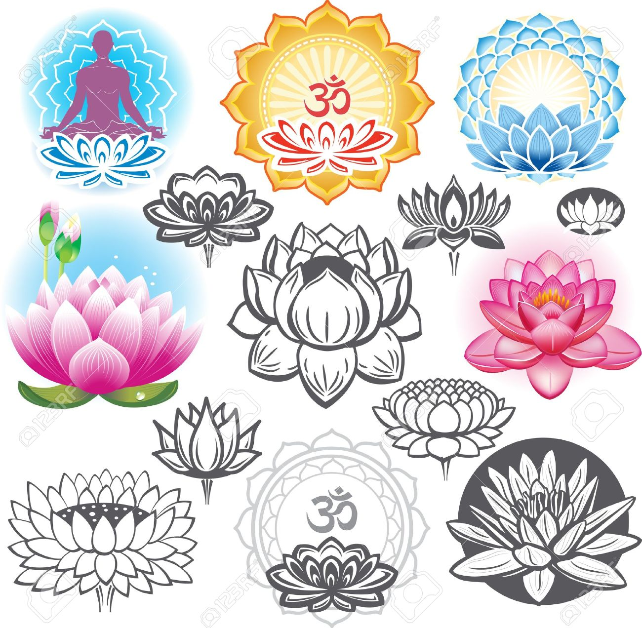 Yoga pattern background seamless pattern with five petals lotus flower - Lotus Flower Set Of Lotuses And Esoteric Symbols
