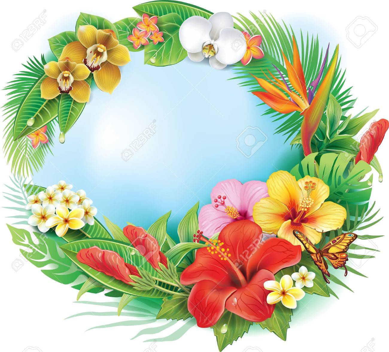 Round banner from tropical flowers and leaves - 21670792
