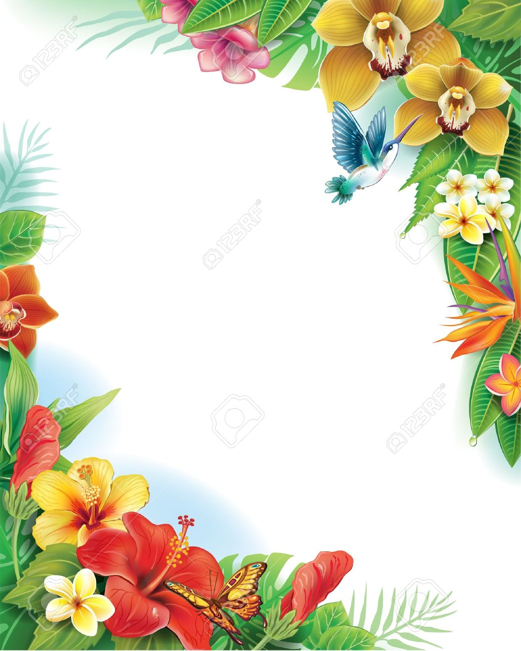 Background from tropical flowers and leaves - 21670796