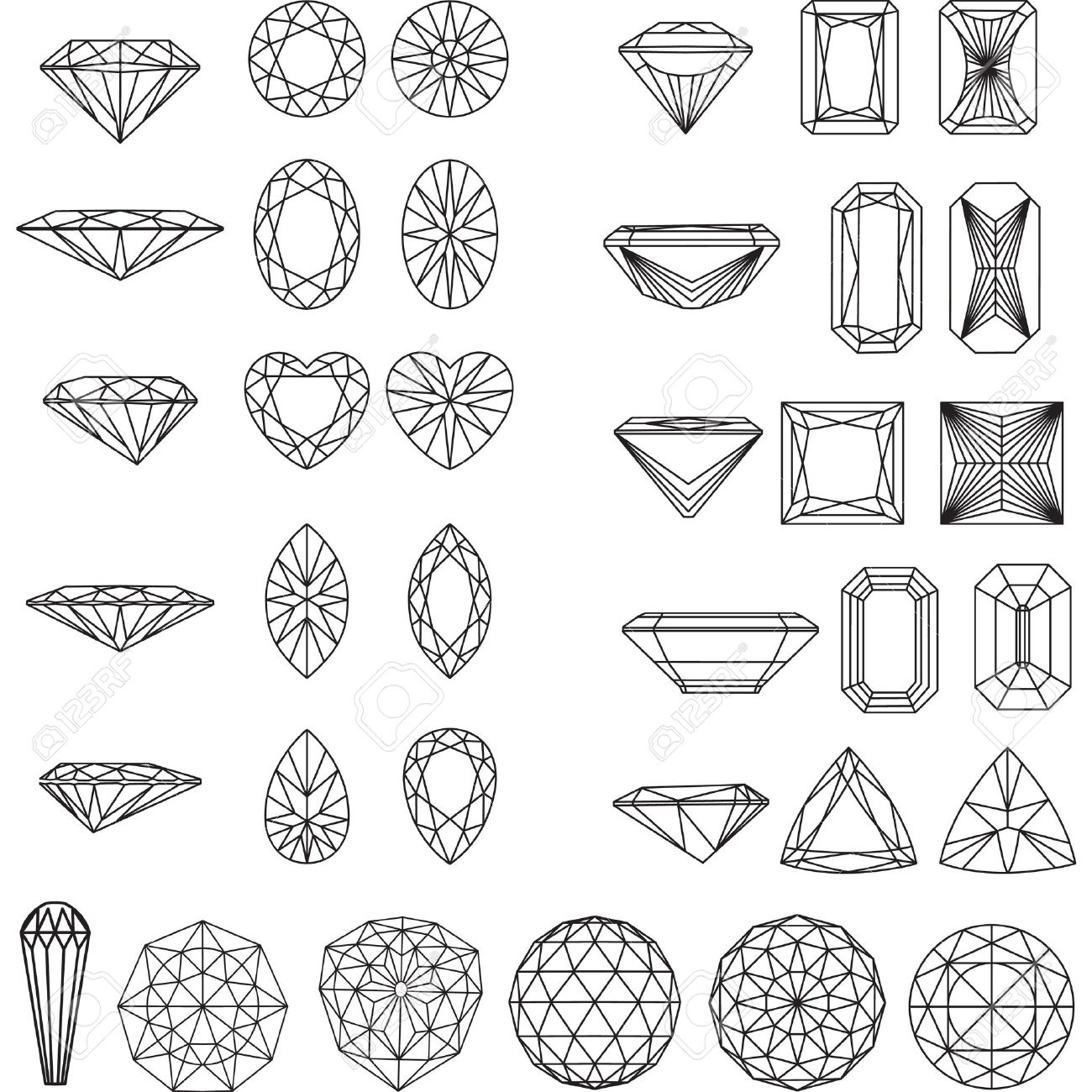 Set of shapes of diamond in wireframe - 26040702