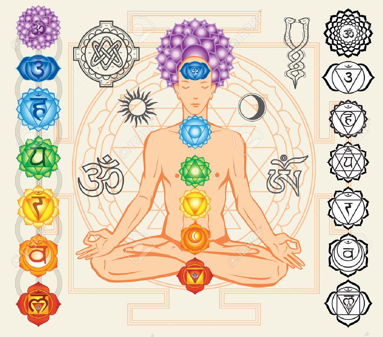 Esoterismo:  El Pentagrammaton o Tetragrammaton 30828019-Silhouette-of-man-with-chakras-and-esoteric-symbols-Stock-Vector