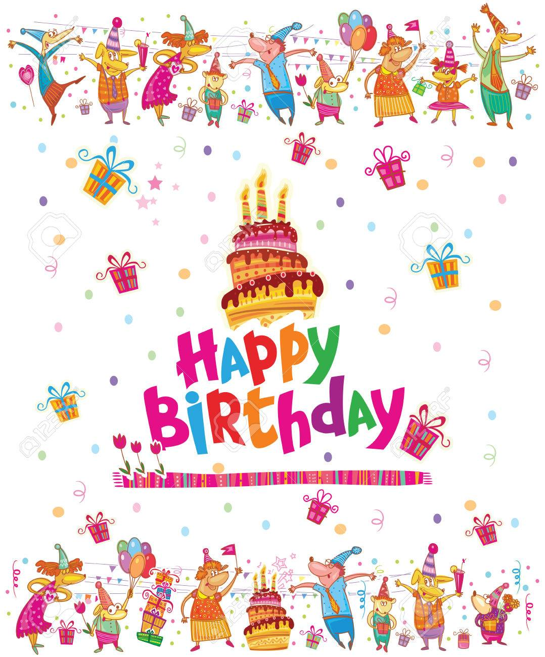 Birthday Card Design With Cake Royalty Free Cliparts Vectors And – Birthday Card Design