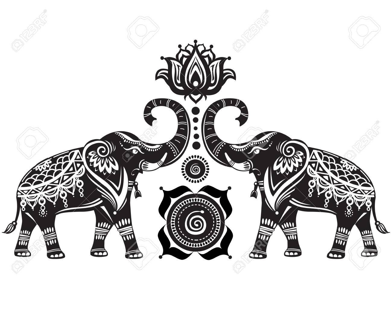 Stylized decorated elephants and lotus flower - 51213191