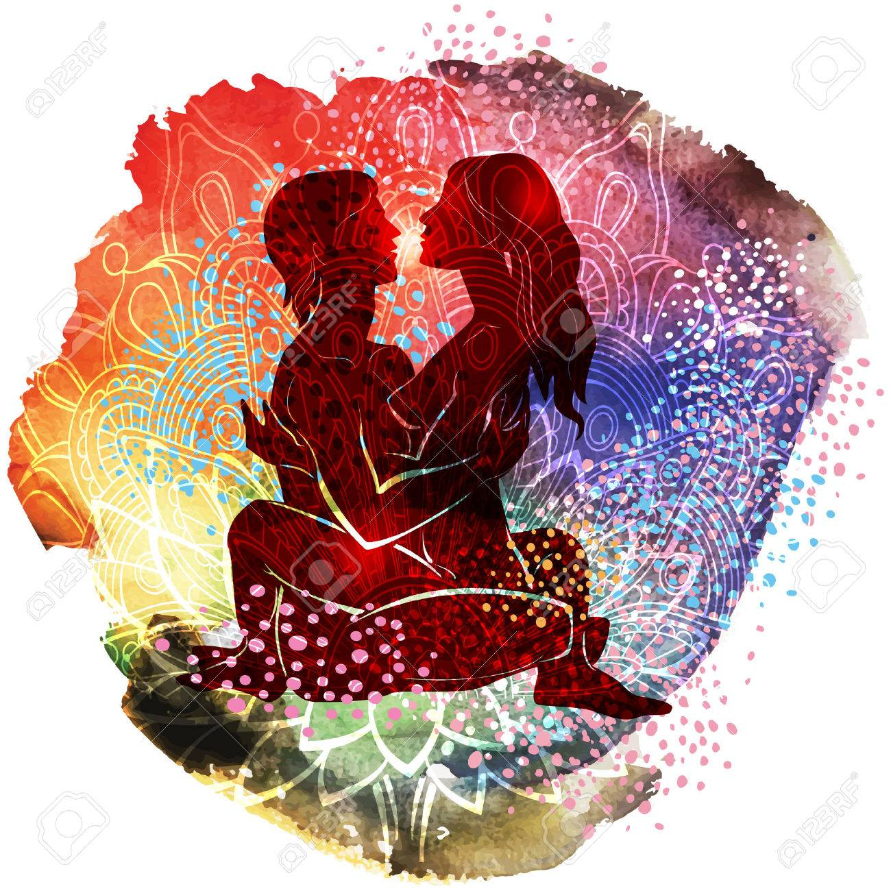 Couple practicing tantra yoga an watercolor pattern - 73907307