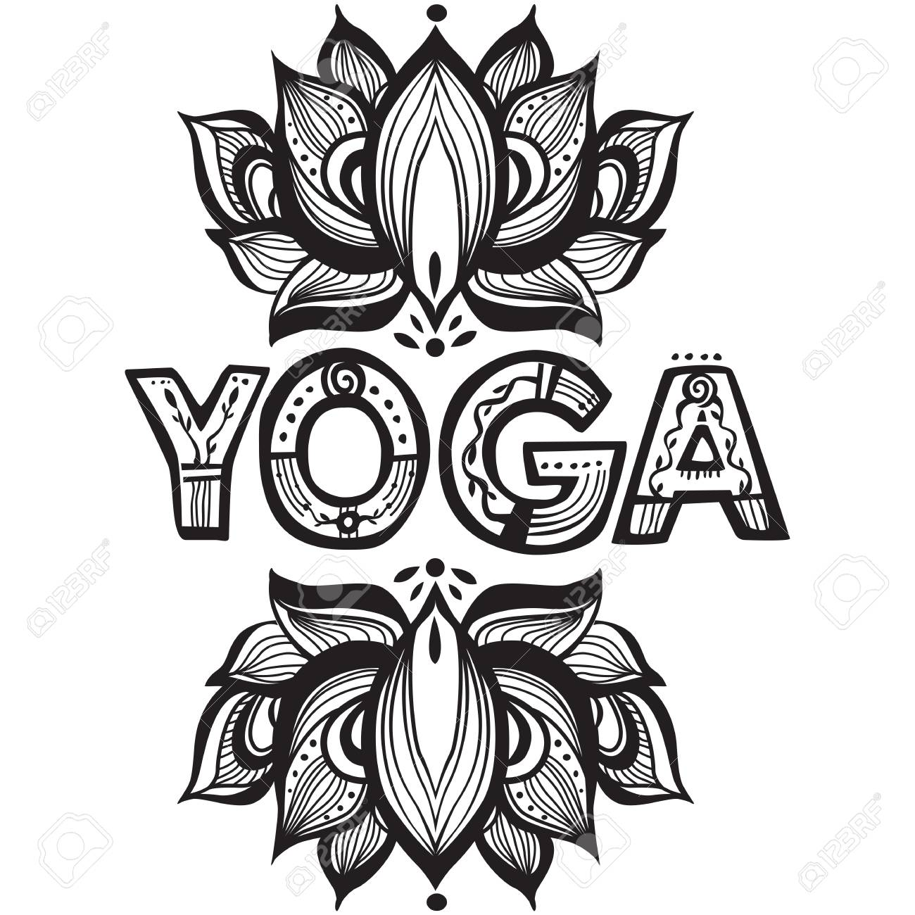 Word Yoga With Lotus Flower Silhouette Royalty Free Cliparts