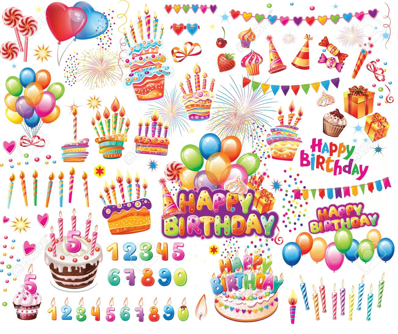 Set Of Elements For Birthday Party Decoration For Posters Design