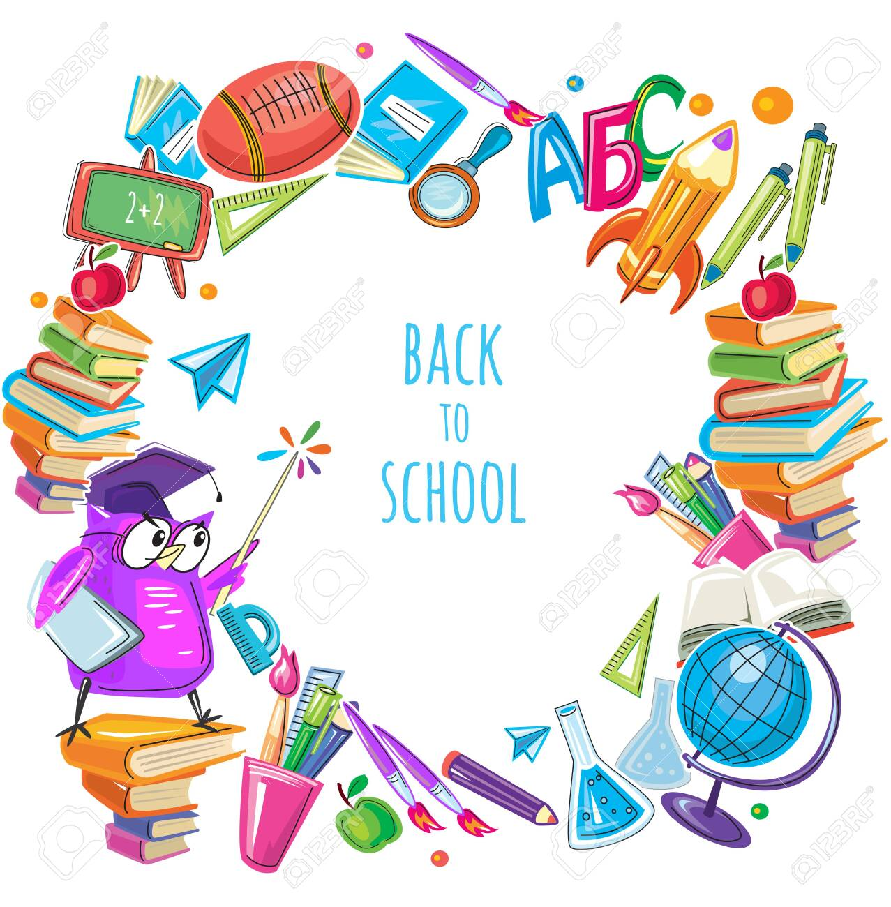 Back to school template frame with different school objects - 153356799